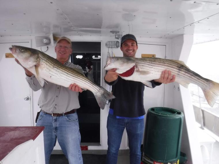 First fall stripers on Sea Hunter